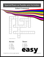 Colors Crossword Puzzle Easy in Spanish