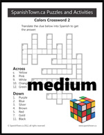 Colors Crossword Puzzle in Spanish