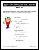 About you worksheet in Spanish