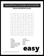 Spanish Wordsearch Puzzle - House Vocabulary