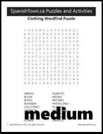 Clothing in Spanish Wordfind Puzzle