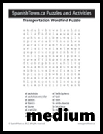 Transportation Wordsearch Puzzle