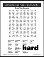 Fruit Wordsearch Puzzle in Spanish