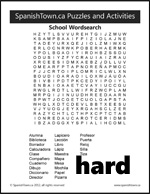 School Vocabulary in Spanish Word Find Puzzle