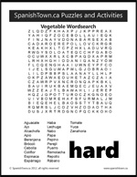 Vegetable Wordsearch Puzzle in Spanish