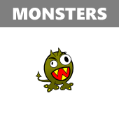 Monsters in Spanish vocabulary crossword puzzle