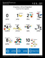 Count to 10 in Spanish Vocabulary Sheet